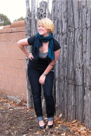 jeggings Maurices jeans - teal pashmina thrifted scarf - black pumps Steve Madde