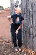 jeggings Maurices jeans - teal pashmina thrifted scarf - black pumps Steve Madde