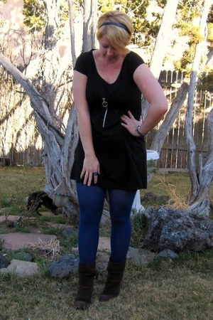 brown Jessica Simpson boots - black babydoll Body Central dress - blue Target ti