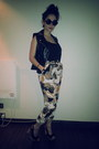 Leather-unknown-vest-cotton-h-m-top-unknown-pants-topshop-heels