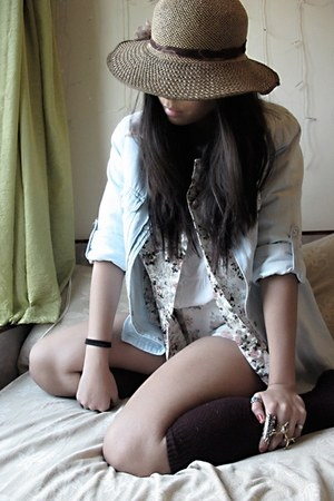 vintage hat - vintage shorts - thrifted socks - floral vintage blouse - denim co