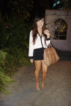 white Topshop top - camel Celine bag - black Zara shorts