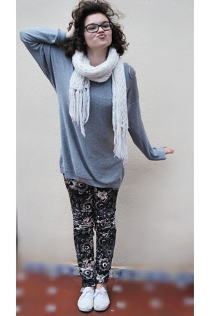 silver H&M sweater - purple Zara leggings - white shoes - black Zara jacket - wh