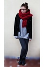 Red-zara-scarf-silver-h-m-sweater-blue-dr-martens-shoes-gray-zara-leggings
