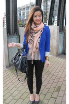 blue Zara blazer - black spiked BCBG shoes - peach H&M scarf