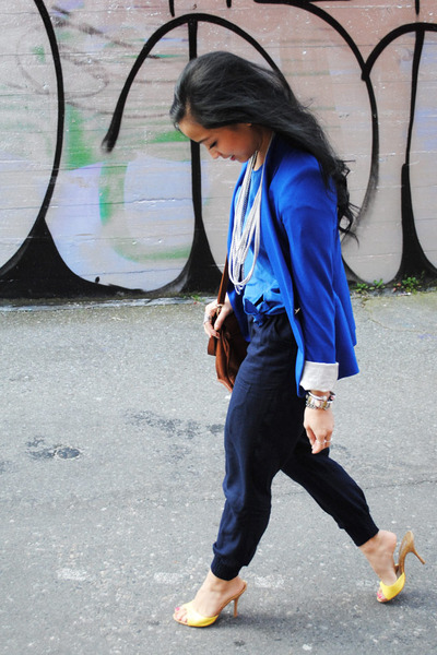 blue Zara blazer - yellow shoes - dark brown Spring bag - navy Talula pants