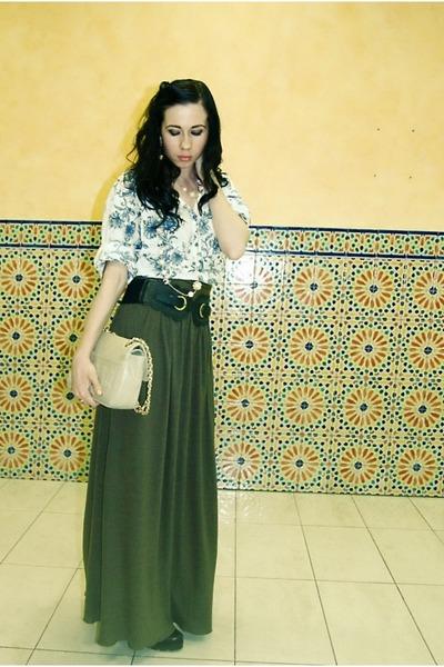Moschino bag - dark green Zara skirt - turquoise blue AMERICAN VINTAGE blouse -