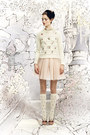 Cream-embroidered-red-valentino-sweater-light-pink-tulle-red-valentino-skirt