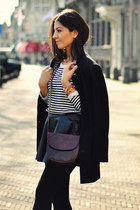 black H&M coat - white striped H&M shirt - maroon vintage bag