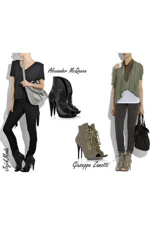 silver bag - black Alexander McQueen shoes - green Giuseppe Zanotti shoes - brow