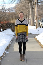 mustard sweater - silver boots - white dress - black dress