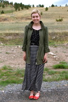 black maxi skirt Target skirt - olive green H&M jacket - black polka dots blouse