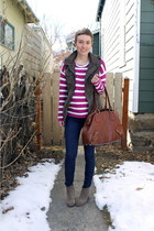 heather gray boots - maroon sweater - brown bag - navy pants - army green vest