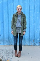 brown Famous Footwear boots - Old Navy jeans - olive green H&M jacket