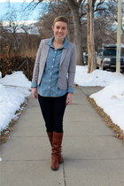 navy 7 for all mankind jeans - brown Frye boots - heather gray H&M blazer