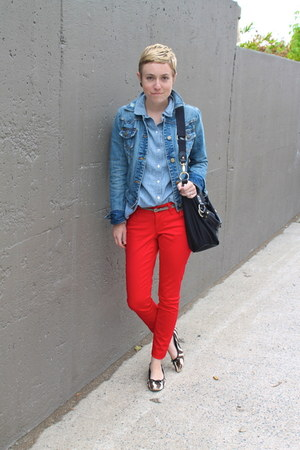 red Old Navy pants - sky blue Target jacket - sky blue Old Navy shirt
