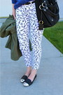 White-jeans-blue-blouse-black-flats
