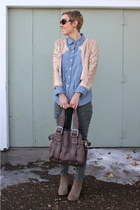 light pink blazer - heather gray boots - sky blue shirt - charcoal gray bag