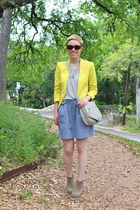yellow blazer - heather gray boots - white shirt - light blue skirt