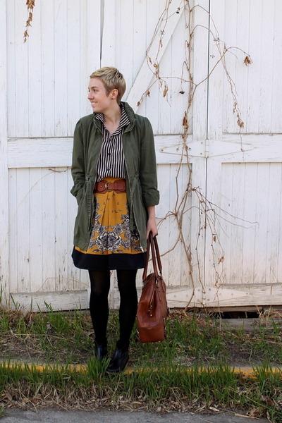 gold skirt - black boots - army green jacket - tawny bag