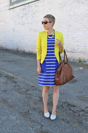 blue Gap dress - yellow H&M blazer - tawny banana republic bag