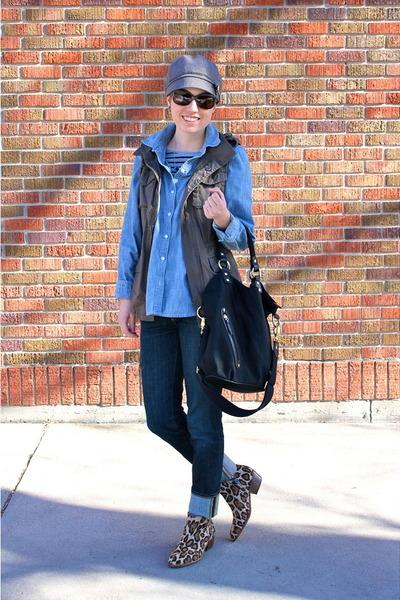 brown boots - sky blue shirt - black bag - olive green vest