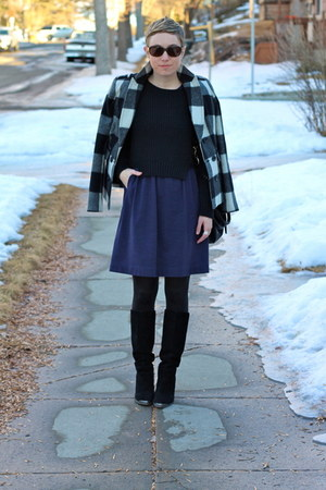 Chinese Laundry boots - madewell dress - banana republic coat - TJ Maxx sweater