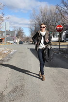 navy jeans - black jacket - ivory sweater - army green vest