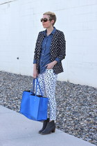 H&M blazer - Old Navy boots - Old Navy shirt - Zara bag - Gap pants