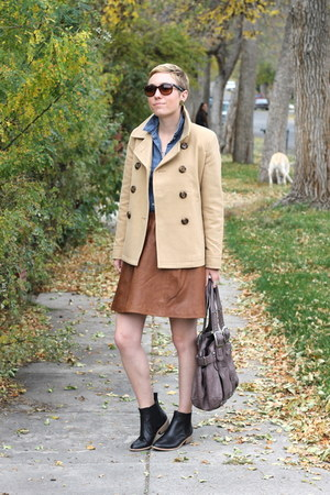 Mango skirt - Gap boots - Old Navy coat - Old Navy shirt - Urban Outfitters bag
