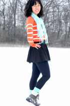 black Wet Seal skirt - dark brown Meijer boots - orange thrifted J Crew sweater
