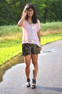 Black-american-idol-shorts-gold-target-necklace-light-pink-thrifted-top
