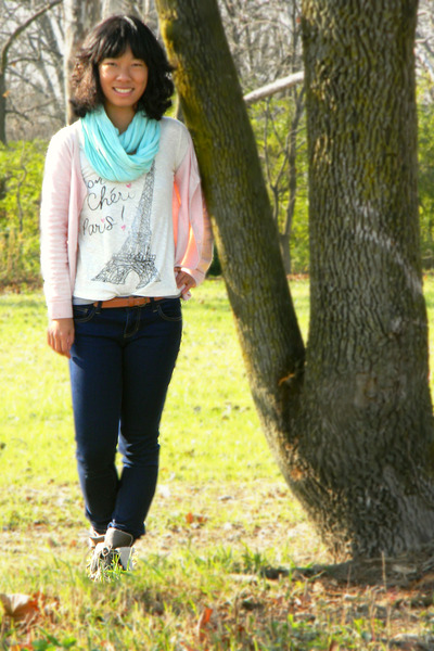 ivory Delias top - aquamarine China scarf - light pink H&M cardigan