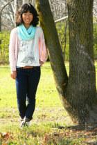 ivory Delias top - aquamarine China scarf - light pink H&M cardigan