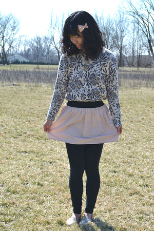 light pink Target skirt - off white thrifted sweater