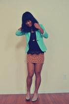 aquamarine kohls blazer - black kohls top - mustard JCPenney skirt