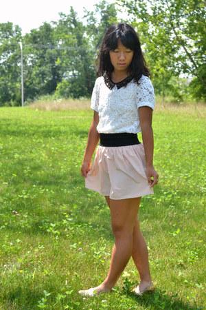 light pink Target skirt - gold Target flats - cream Forever 21 top