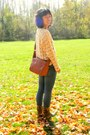 Mustard-china-boots-light-pink-kohls-sweater-burnt-orange-goodwill-bag