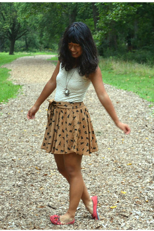 light brown PERSUNMALL skirt - salmon Target flats - ivory PERSUNMALL necklace