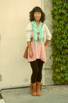 aquamarine China scarf - bronze thrifted bag - pink Apt 9 skirt