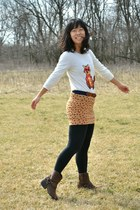gold JCPenney skirt - dark brown Target boots - white Macys sweater