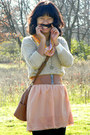 Pink-forever-21-skirt-tan-moms-sweater-light-orange-prague-scarf