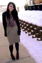 brown Forever 21 cardigan - beige Target blouse - beige Old Navy skirt - blue Fo