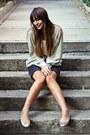 Glitter-ipeyol-blouse-grey-and-wool-polo-garage-skirt-glitter-oysho-flats