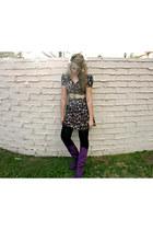 thrifted vintage dress - thrifted vintage belt - Target leggings - Target boots