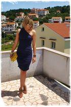 blue Victorias Secret dress - beige Nine West shoes - yellow Guess accessories -