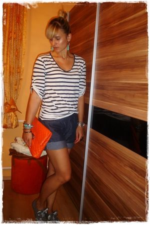 blue Orsay shorts - blue Zara top - orange asos accessories - gray Deichmann sho