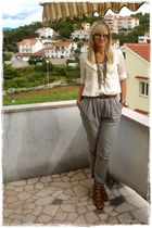 gray Mango pants - white Mango shirt - beige asos shoes - gold Stradivarius neck