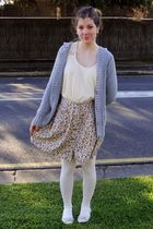 beige Valley Girl top - green Valley Girl skirt - gray thrifted cardigan - white