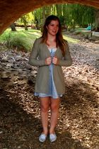 brown Just jeans cardigan - blue ids dress - blue Sportsgirl shoes